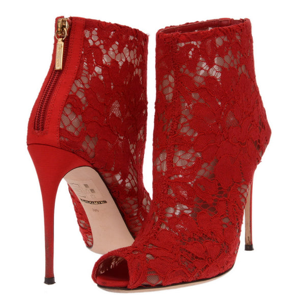 Red Guipure Floral Lace Booties