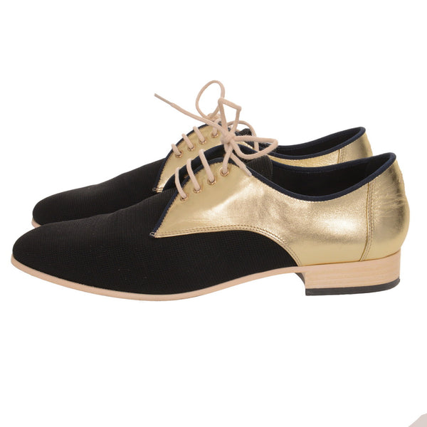 Black 17c Gold Lace Up Loafer Moccasin Oxford