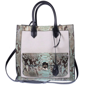 Padlock All Afternoon Python Snakeskin Leather Tote