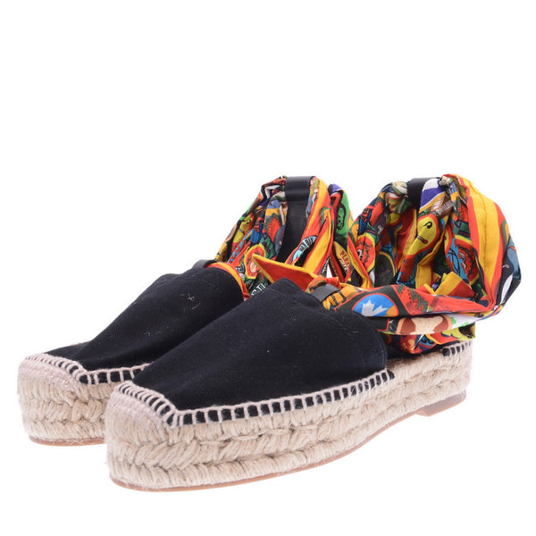 Two Tone Black Canvas Espadrilles