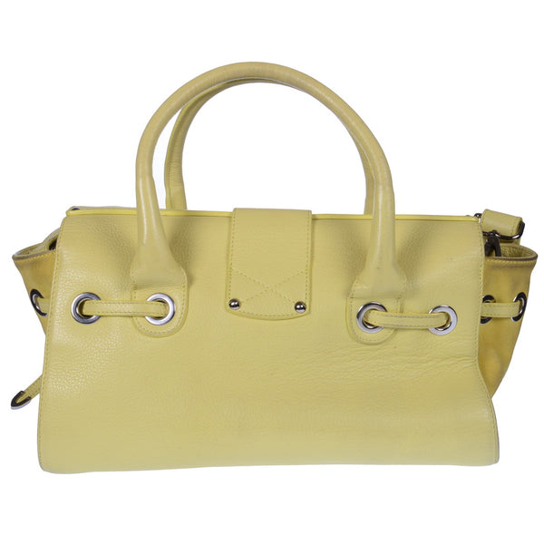 Yellow Leather Rosalie Satchel Bag