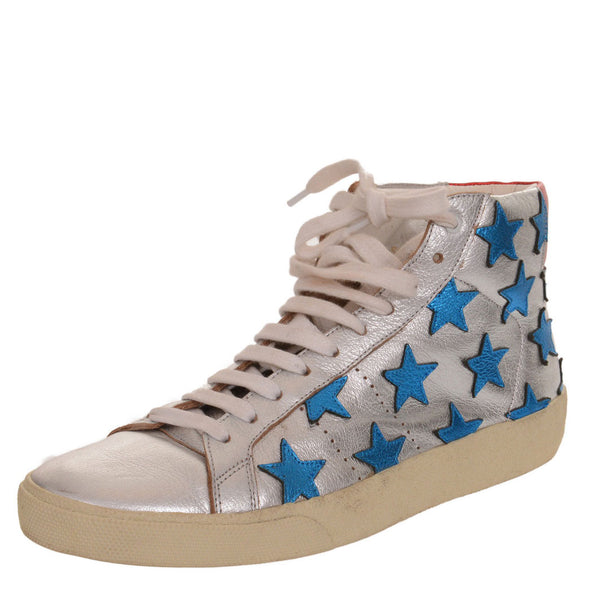 Court Classic Appliquéd Metallic Leather High-top Sneakers