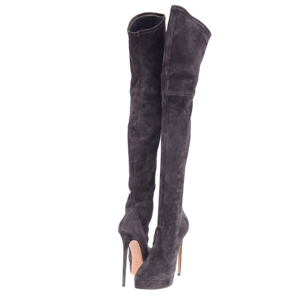Grey Suede Thigh Length Platform Boots