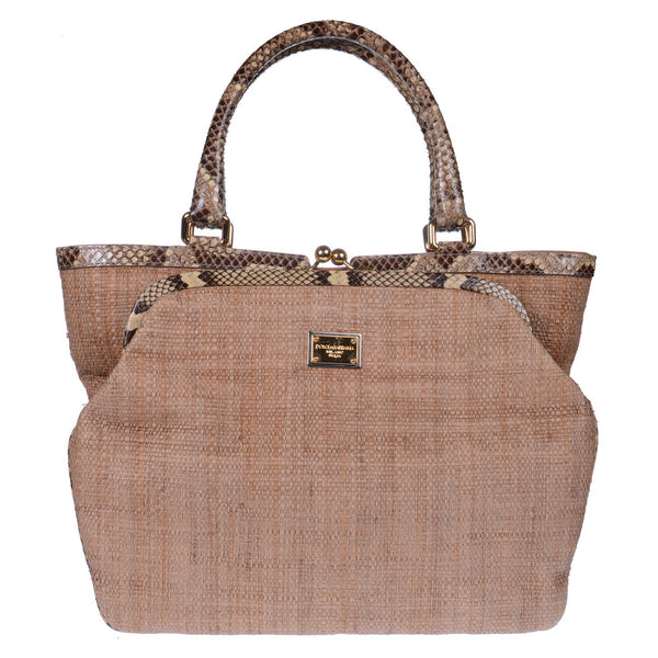 Beige Raffia And Python Shopper Bag