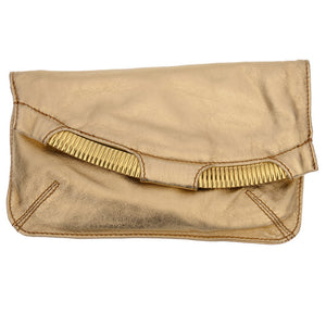 Shimmering Gold Leather Clutch