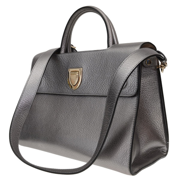 Diorever Metallic Silver Leather Bag