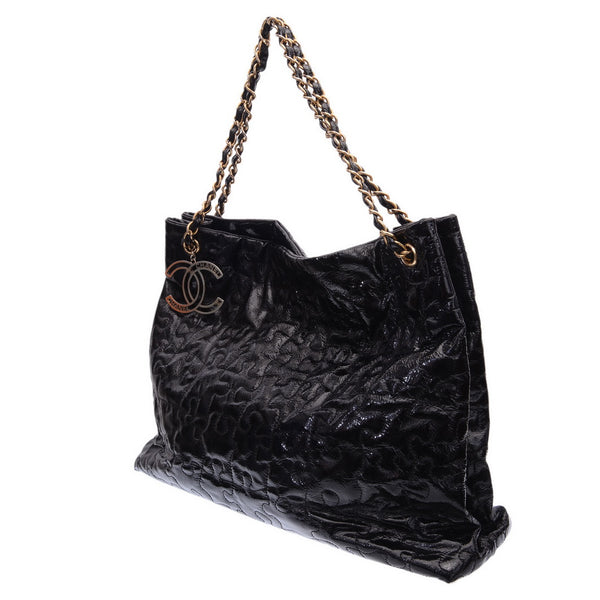 Black Patent Leather Puzzle Tote