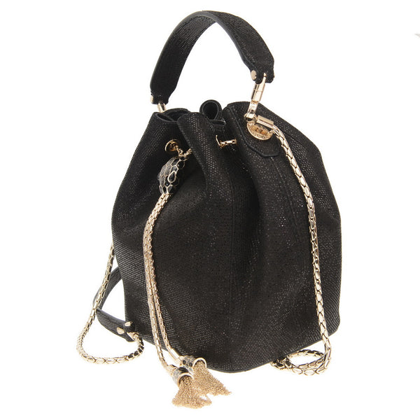 Serpenti Forever Black Leather Bucket Bag