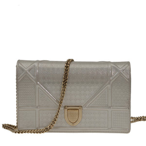 Diorama Metallic White Leather Clutch