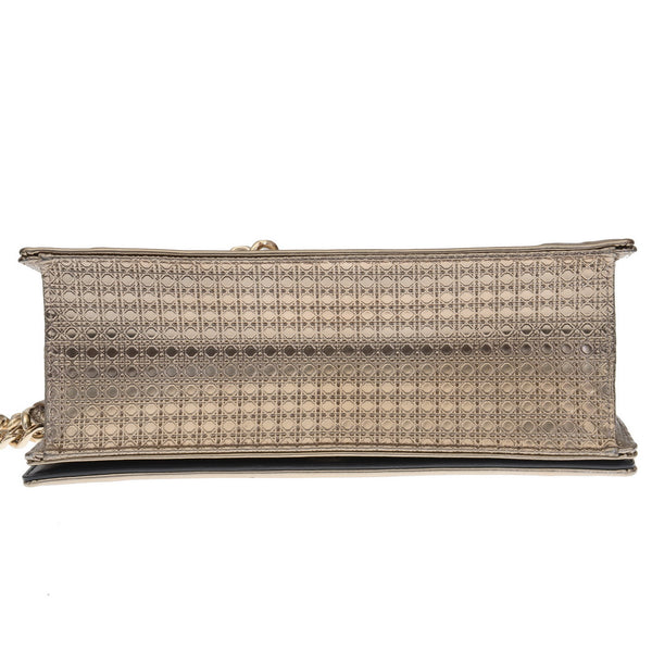 Diorama Champagne Metallic Leather Shoulder Bag