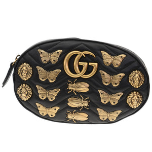GG Animal Studs Black Leather Belt Bag
