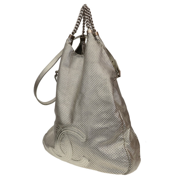 Rodeo Drive Metallic Silver Perforated Leather Large Tote