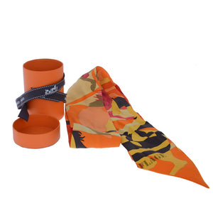 Orange Ex-libris En Camouflage Silk Twilly Scarf