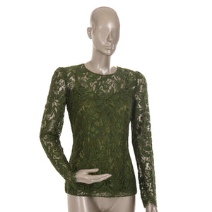 Green Lace Long-Sleeve Blouse
