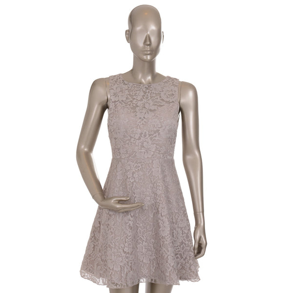 Grey Sleeveless Lace Skater Dress