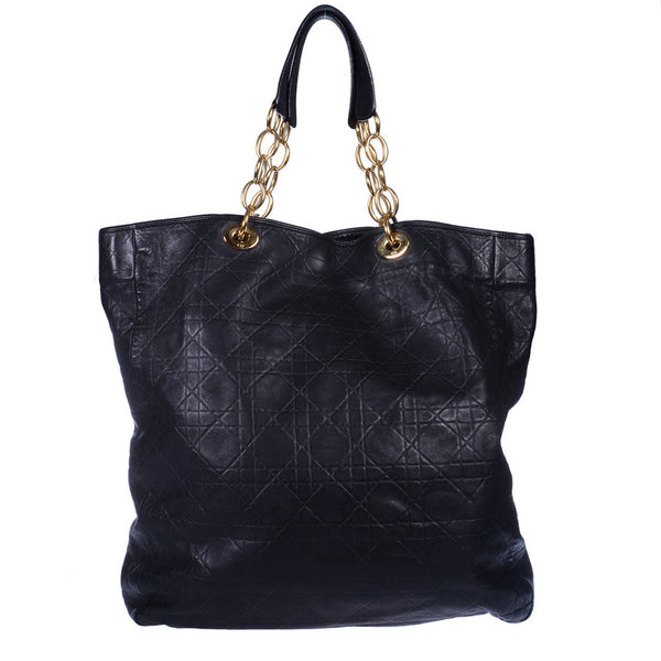 Black Cannage Quilted Soft Tote Bag