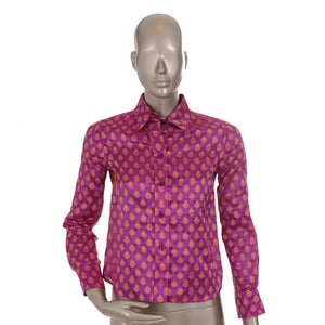 Purple And Gold Pattern Jacquard Shirt