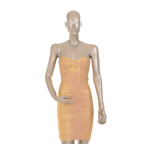 Gold V-Neck Bandage Dress