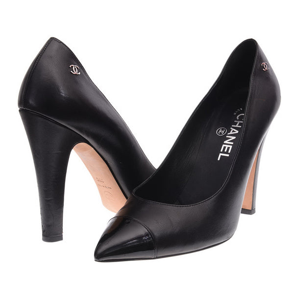 Black Leather Patent Pointed Toe Cap Pumps