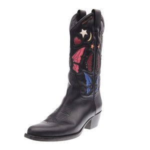 Butterfly Embroidered Black Leather Western Boots