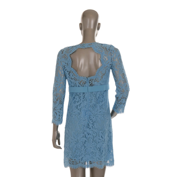 Blue Lace Dress With Silk Belt