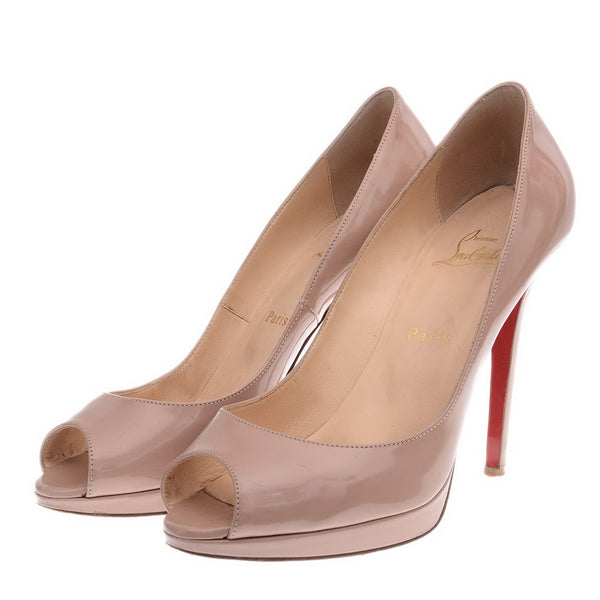Nude Patent Leather Lady Peep Toe Pumps