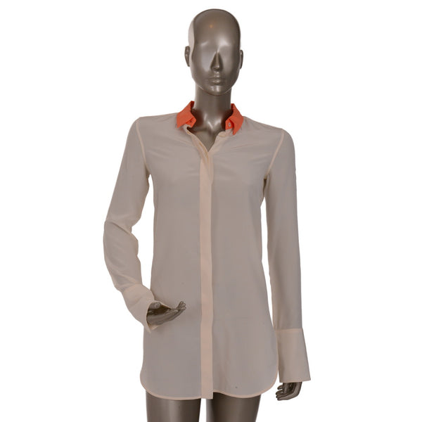 Cream Silk Shirt With Coral Collar