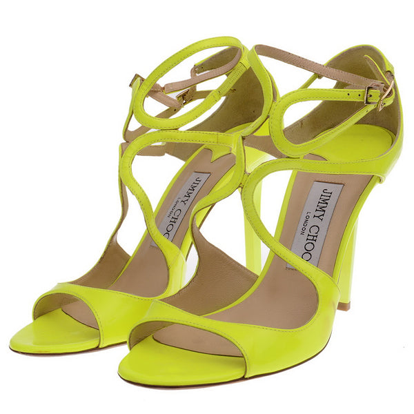 Ivette Yellow Neon Patent Leather Sandals