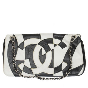 Black & White Accordion Lambskin Patchwork Shoulder Bag