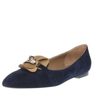 Blue Suede Pagese Ballerina Flats