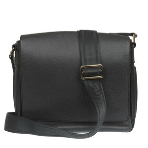 Black Leather Roman PM Men Messenger Bag