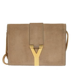 Mini Y Ligne Pochette Taupe Suede Cross Body Bag