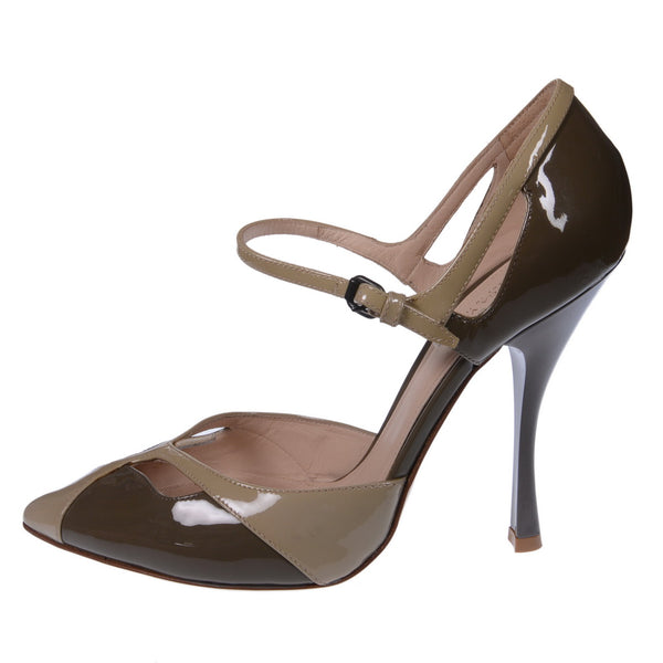 Two tone Patent Leather Mary Jane Sandals