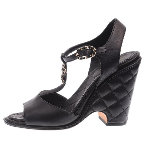 Quilted Chain Black CC Wedge Sandals