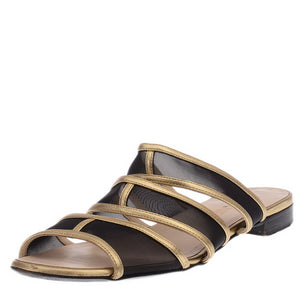 Black Mesh With Gold Flat Sandals