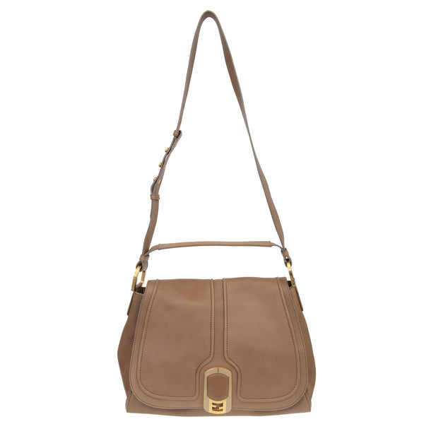 Khaki Leather Medium Anna Shoulder Bag