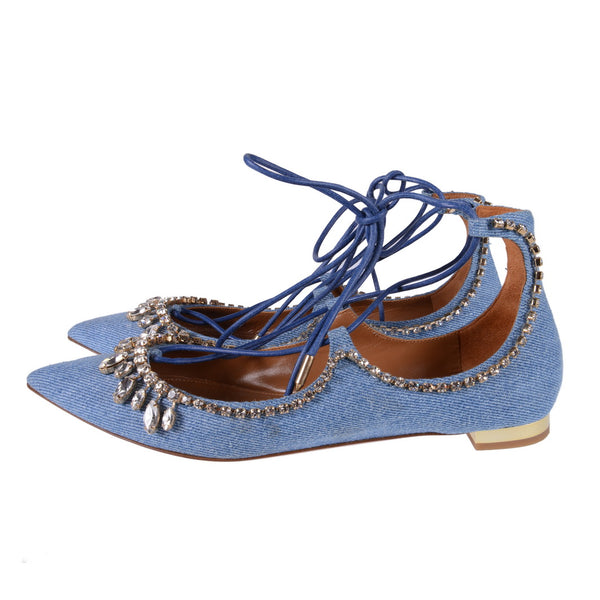 Christy Jeweled Denim Lace-up Flats