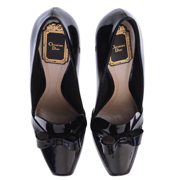 Patent Leather Bow Adorned Pumps