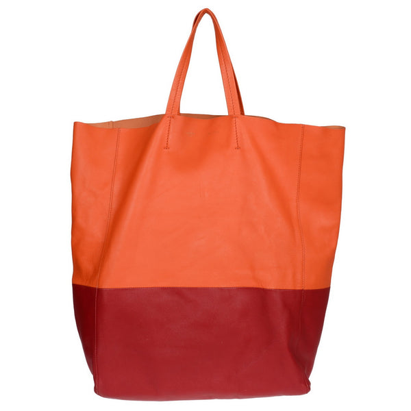 Bicolor Orange & Red Leather Horinzontal Cabas Tote