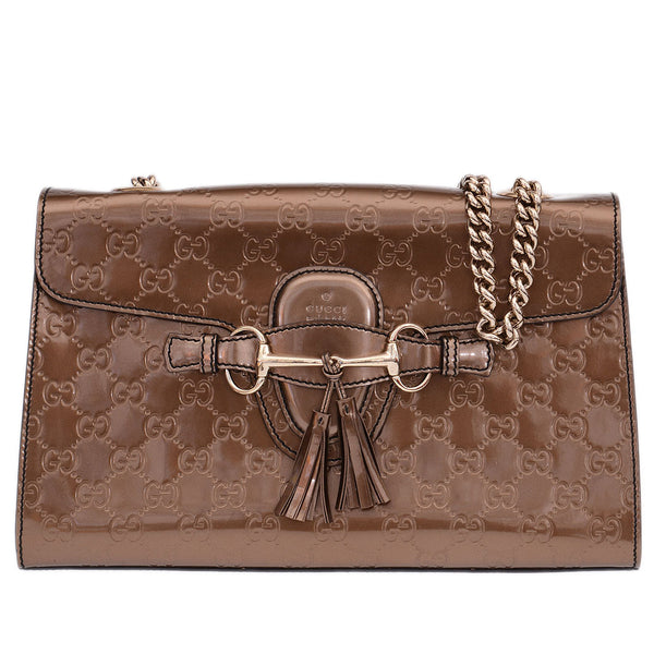 Bronze Microguccisima Medium Emily Shoulder Bag