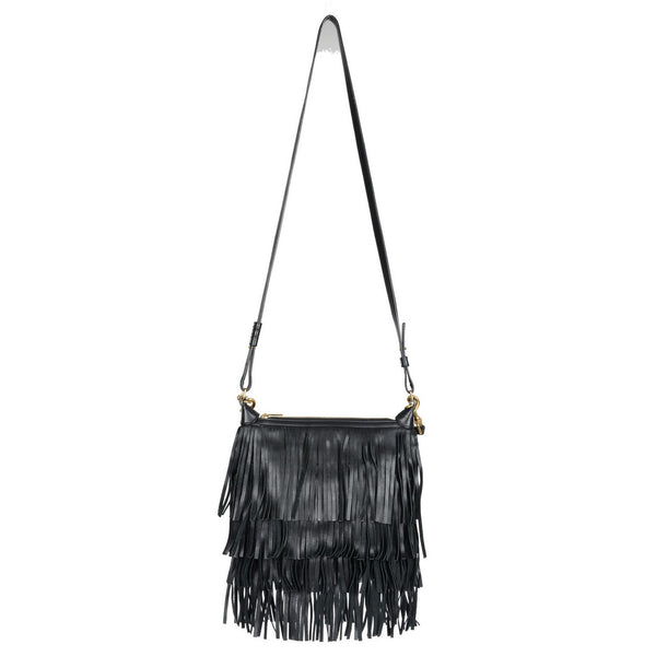 Small Black Leather Fringes Emanuelle Hobo Bag