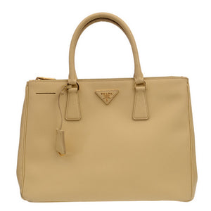 Yellow Leather Double Zip Saffiano Tote