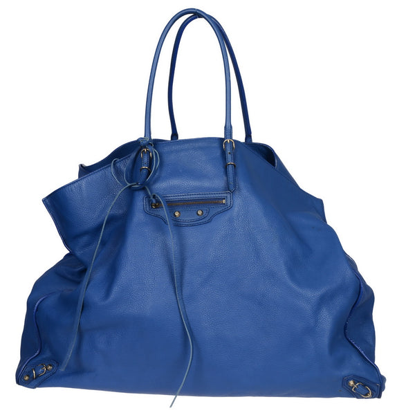 XL Blue Leather Weekend Travel Bag