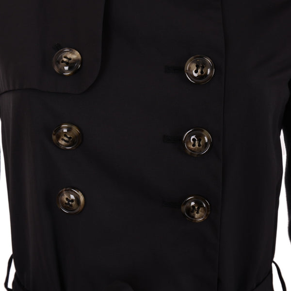 Black Double Breasted Buttoned Trench Coat