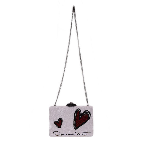 Heart Embroidered Satin & Leather Rogan Box Clutch