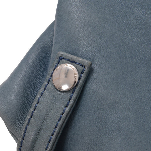Blue Quilted Leather With Silver Zipper