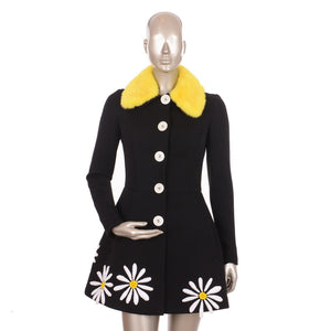 Sun Flower Black & Yellow Coat