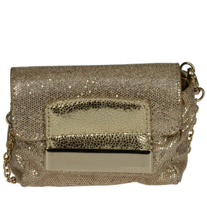 Gold Glitter Fabric Mini Rebel Cross Body Bag