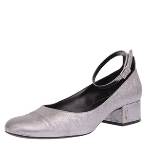Metallic Grey Babies Leather Pumps