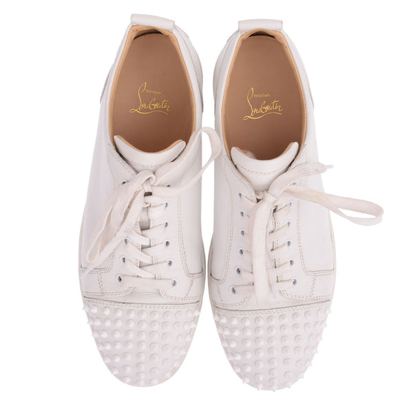 Junior Louis White Spiked Leather Trainers